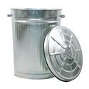 Picture of Metal Garbage Bin & Lid 75 Litre - Galvanised Finish-BINS386355- (EA)