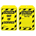 "Picture of Lockout Tag ""Caution out of order"" Brady part no. 842390-MSAF838475- (PACK-10)"