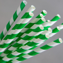 Picture of Straws Paper - Regular Size - Green and White Swirl-STRW177670- (CTN-2500)